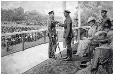 Fortunino Matania (1881-1963). The King's investiture in Hyde Park, 1917- H.R.H. King George V awarding the V. C. to Private T. Hughes