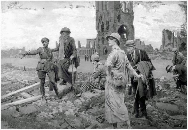 Fortunino Matania (1881-1963). Поле великой скорби и великой славы- поле битвы при Ипре - Посещение старых сражений Западного фронта