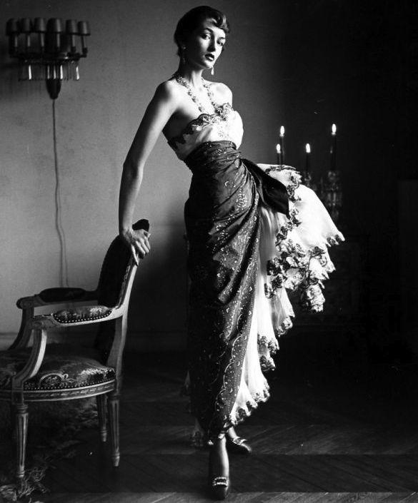 Countess Maxime de la Falaise, in Schiaparelli, Paris, 1950 // Photo by Gordon Parks