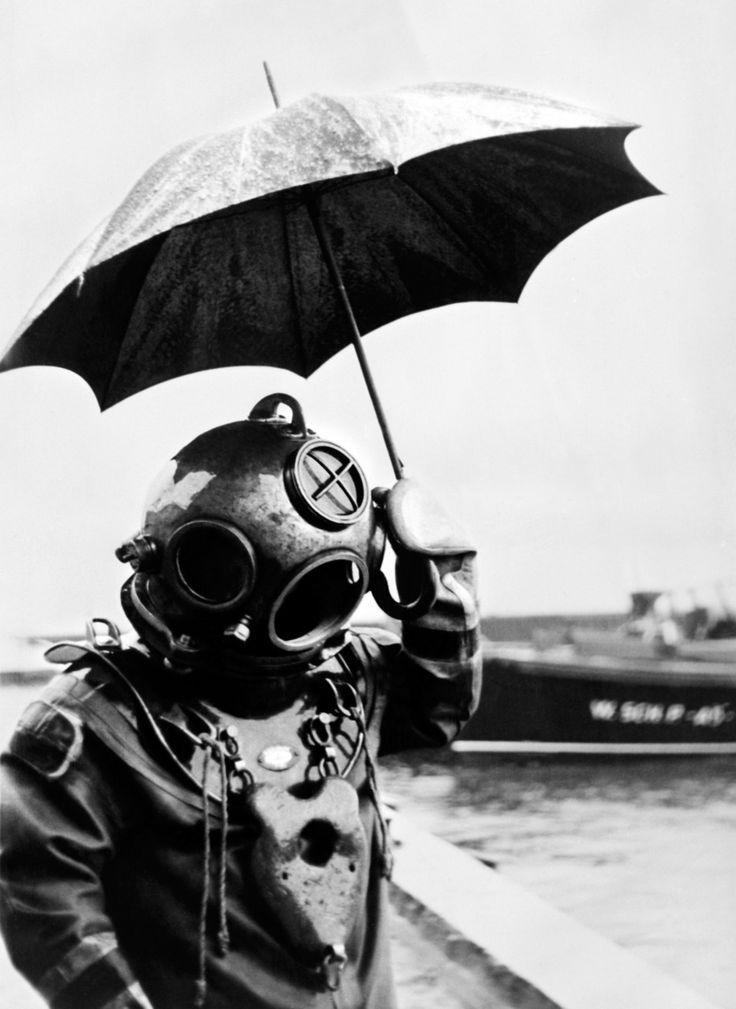 diver in the rain