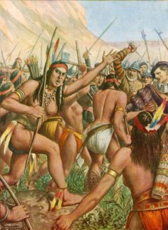 LLM456905 Battle between l'Orebana and a tribe of women near the river Amazon by Scarpelli, Tancredi (1866-1937); Private Collection; (add.info.: Battle between l'Orebana and a tribe of women near the river Amazon. Illustration for Storia dei Viaggiatori by Paolo Lorenzini (Nerbini, 1937).); © Look and Learn; Italian, out of copyright