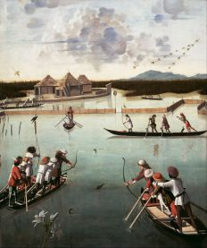 Carpaccio,_Vittore_-_Hunting_on_the_Lagoon_(recto);_Letter_Rack_(verso)_-_Google_Art_Project