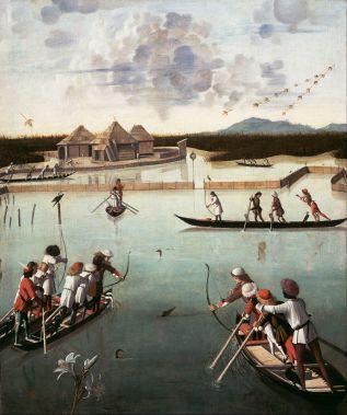 Carpaccio,_Vittore_-_Hunting_on_the_Lagoon_(recto);_Letter_Rack_(verso)_-_Google_Art_Project
