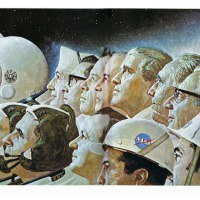 Norman Rockwell: Behind Apollo 11, Oil on Canvas, 1969